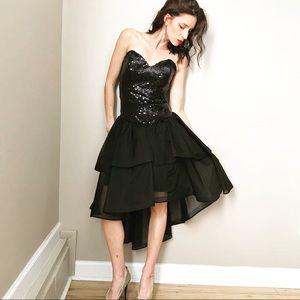 Vintage 80's Strapless Black Sequin Hi-Low Dress